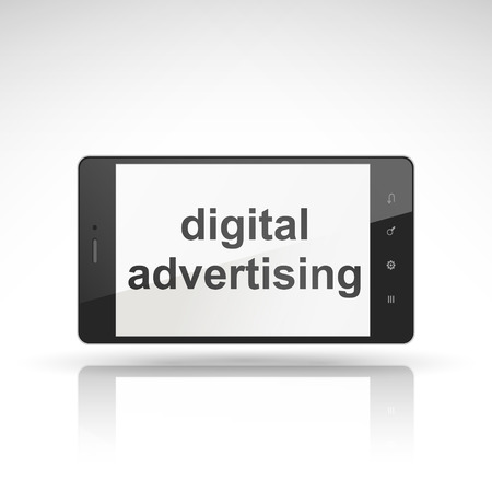 digital advertising words on mobile phone isolated on white Vector
