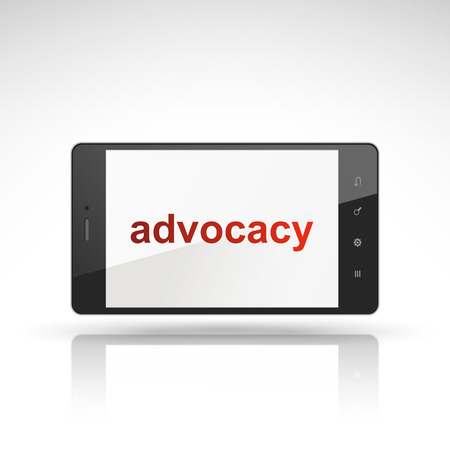 advocacy: advocacy word on mobile phone isolated on white Illustration