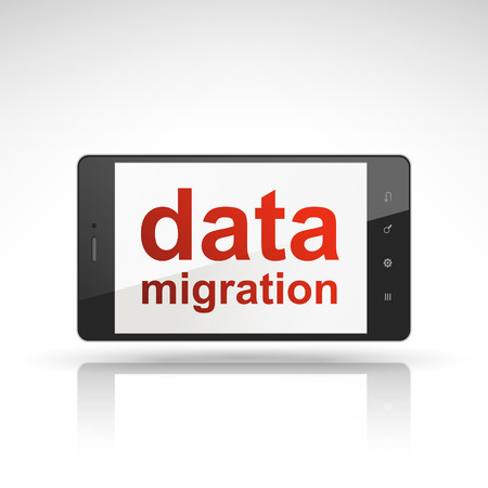 migration: data migration words on mobile phone isolated on white
