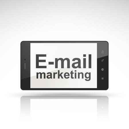 campaigns: email marketing words on mobile phone isolated on white