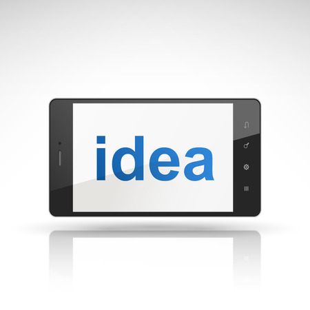 composing: idea word on mobile phone isolated on white
