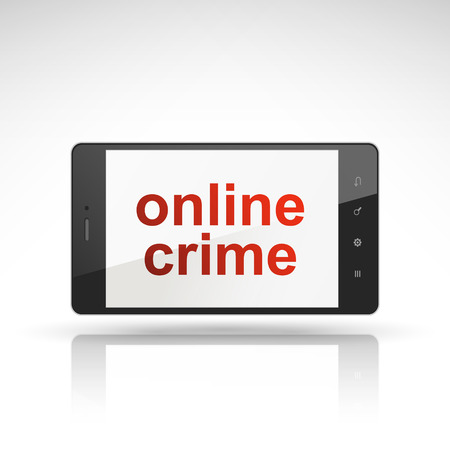 detected: online crime words on mobile phone isolated on white
