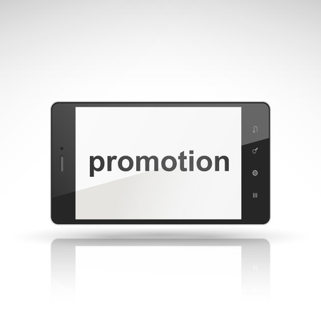 promotion word on mobile phone isolated on white Vector