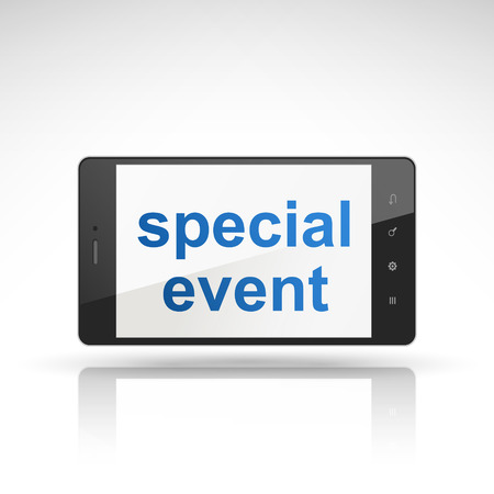 special event: special event words on mobile phone isolated on white