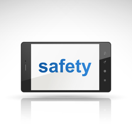 peacefully: safety word on mobile phone isolated on white