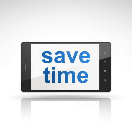phone time: save time words on mobile phone isolated on white Illustration