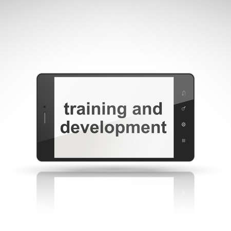 session: training and development words on mobile phone isolated on white Illustration