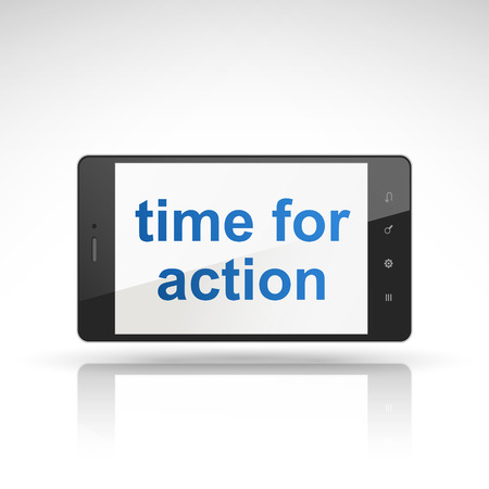 time for action words on mobile phone isolated on white Vector