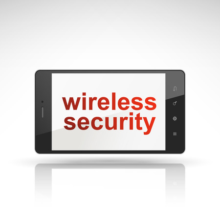 wireless security words on mobile phone isolated on white Vector
