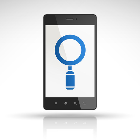 inspect: magnifying glass icon on mobile phone isolated on white