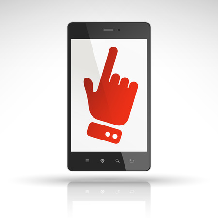 click icon on mobile phone isolated on white  Vector