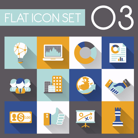 buliding: business strategy icon set in flat design Illustration