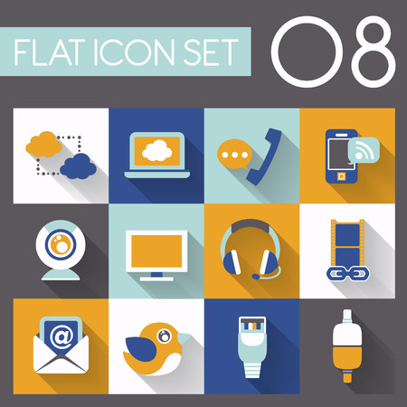 communication and internet icon set in flat design Vector