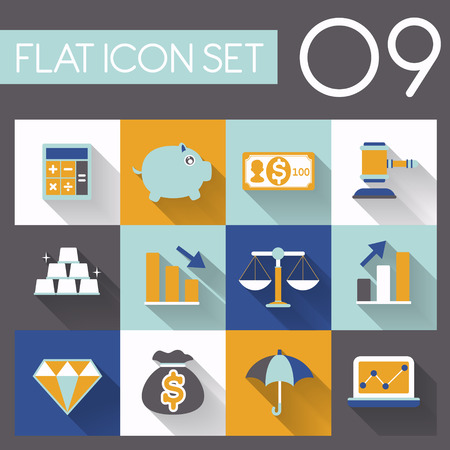 finance icon set in flat style design Vector