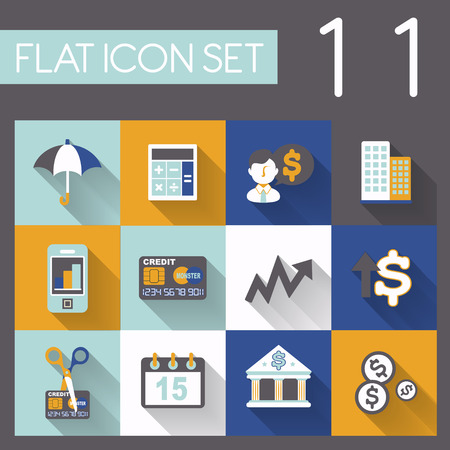 investing and finance icon set in flat design Vector