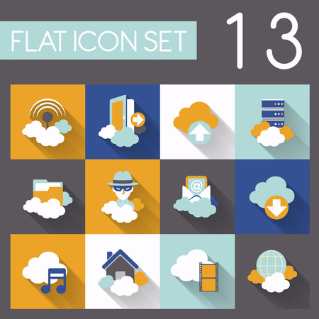 cloud network icon set in flat design