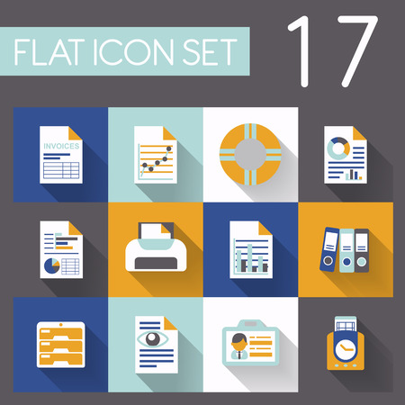 office and business icon set in flat design