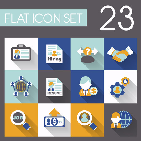 delegate: recruitment and job icon set in flat design