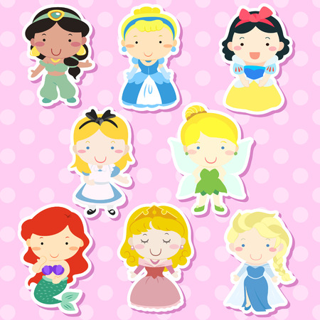 lovely fairy tale characters set over pink background