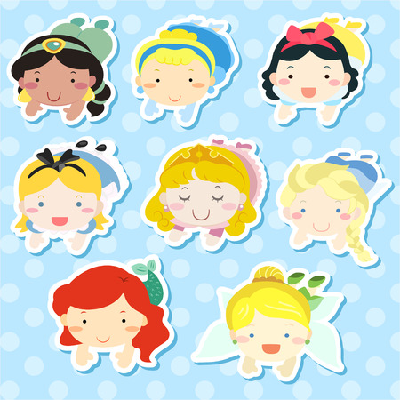 ariel: lovely fairy tale characters lying prone over blue background Illustration