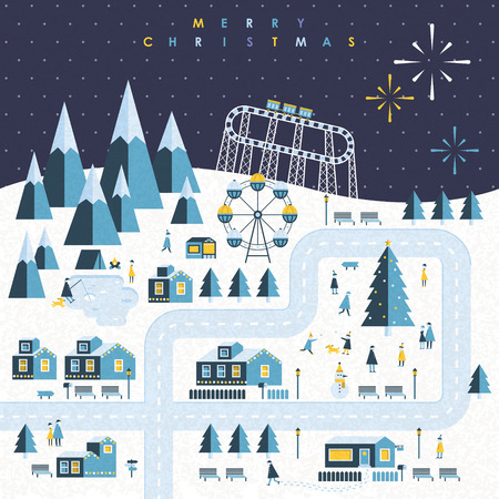 town landscape of Christmas holiday in flat design Vector