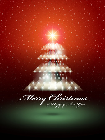 shinny: Shinny Christmas tree over red snowy background