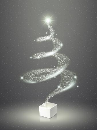 abstract elegant sparkling Christmas tree over grey Иллюстрация