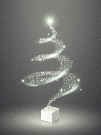 abstract elegant sparkling Christmas tree over grey Illustration