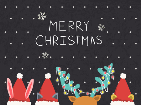 santa moose: Merry Christmas greeting graphic with animals playing hide and see Illustration