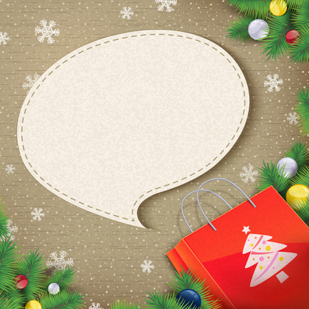 came: blank speech bubble came out from Christmas paper bag