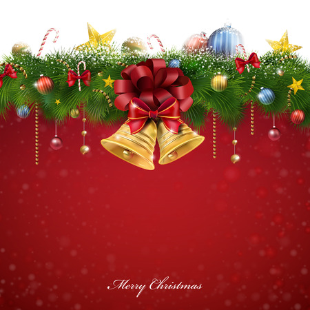 glory Christmas decorations and bells over red background Vector