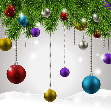 colorful and sparkling Christmas decorations over snowy background Illustration