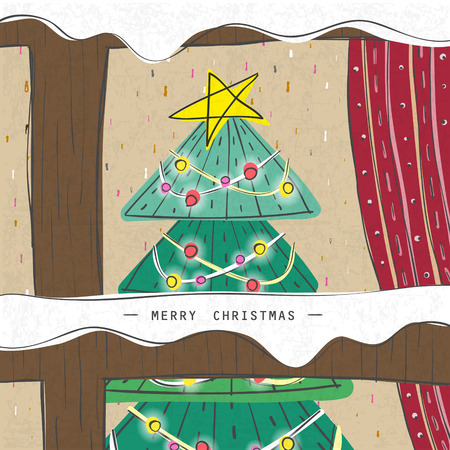 homely: Christmas tree seen through a wooden window in hand drawn style Illustration