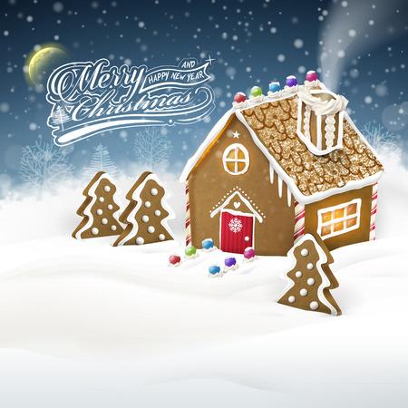 casita de dulces: Gráfico felicitación de Navidad de la casa de pan de jengibre sobre campo de nieve