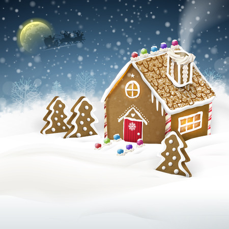 Christmas greeting graphic of gingerbread house over snow field
