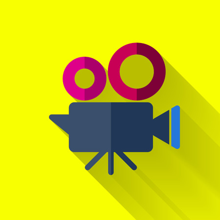 cinema camera icon in colorful flat design style Vectores