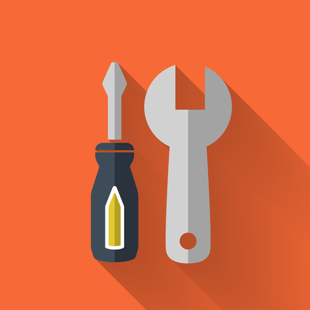 customize: tool set icon in colorful flat design style