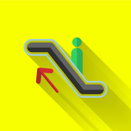 pedestrian walkway: escalator up icon in colorful flat design style Illustration