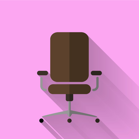 wheel chair: office chair icon in colorful flat design style Illustration