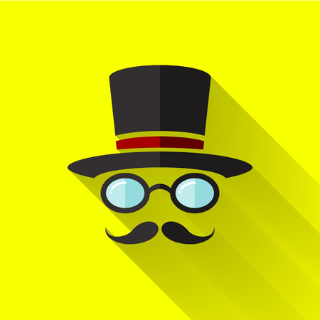 hipster icon in colorful flat design style
