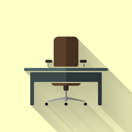 table: office set icon in colorful flat design style Illustration