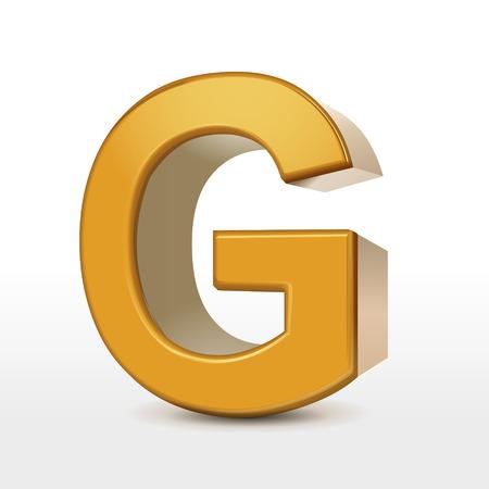 g alphabet: golden 3d alphabet G isolated on white Illustration
