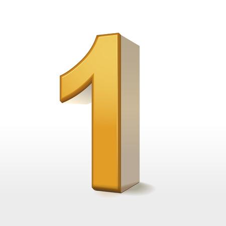 number one: 3d oro número 1 aislado en blanco