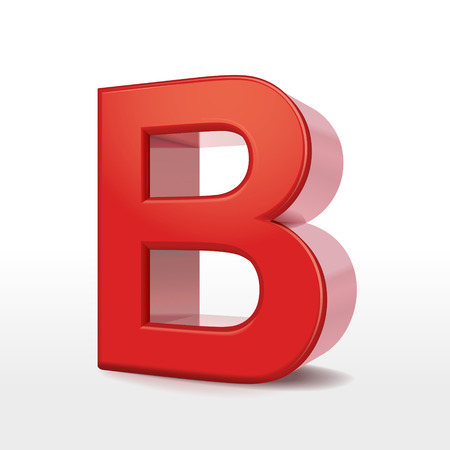 metal letter: 3d red letter B isolated on white background