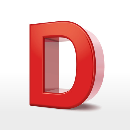 metal letter: 3d red letter D isolated on white background