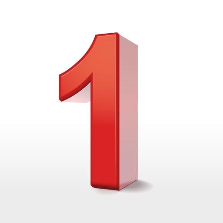 nombres: rouge 3d num�ro 1 isol� sur blanc