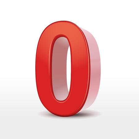 red 3d number 0 isolated on white Vector