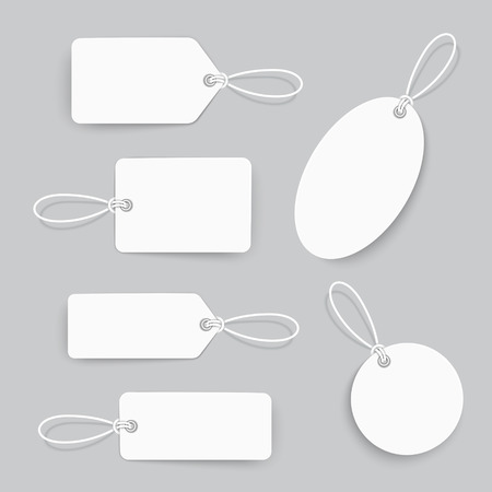 clothing tag: blank tags set design over grey background
