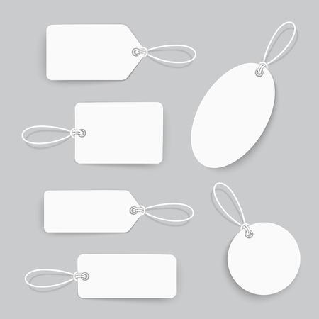 etiquetas de ropa: diseño de etiquetas conjunto blanco sobre fondo gris