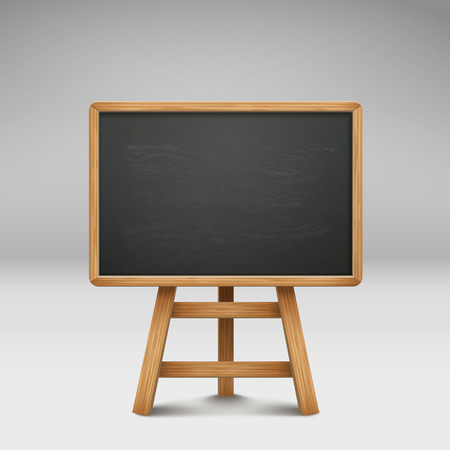 blank blackboard or sandwich board isolated on grey